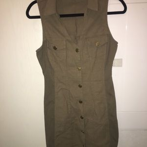 Guess button up dress in olive green size large